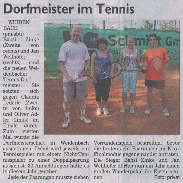 Tennis Dorfmeisterschaft 2014 - Siegerfoto