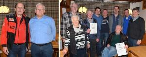 Die neuen Ehrenmitglieder H. Schletterer und H. Bär sowei die für langjährige Mitgliedschaft Geehrten