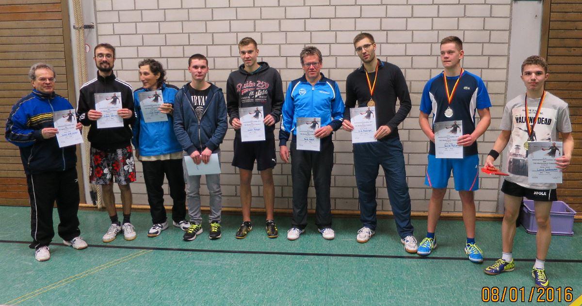 Siegerehrung TT-Vereinsmeisterschaft 2016