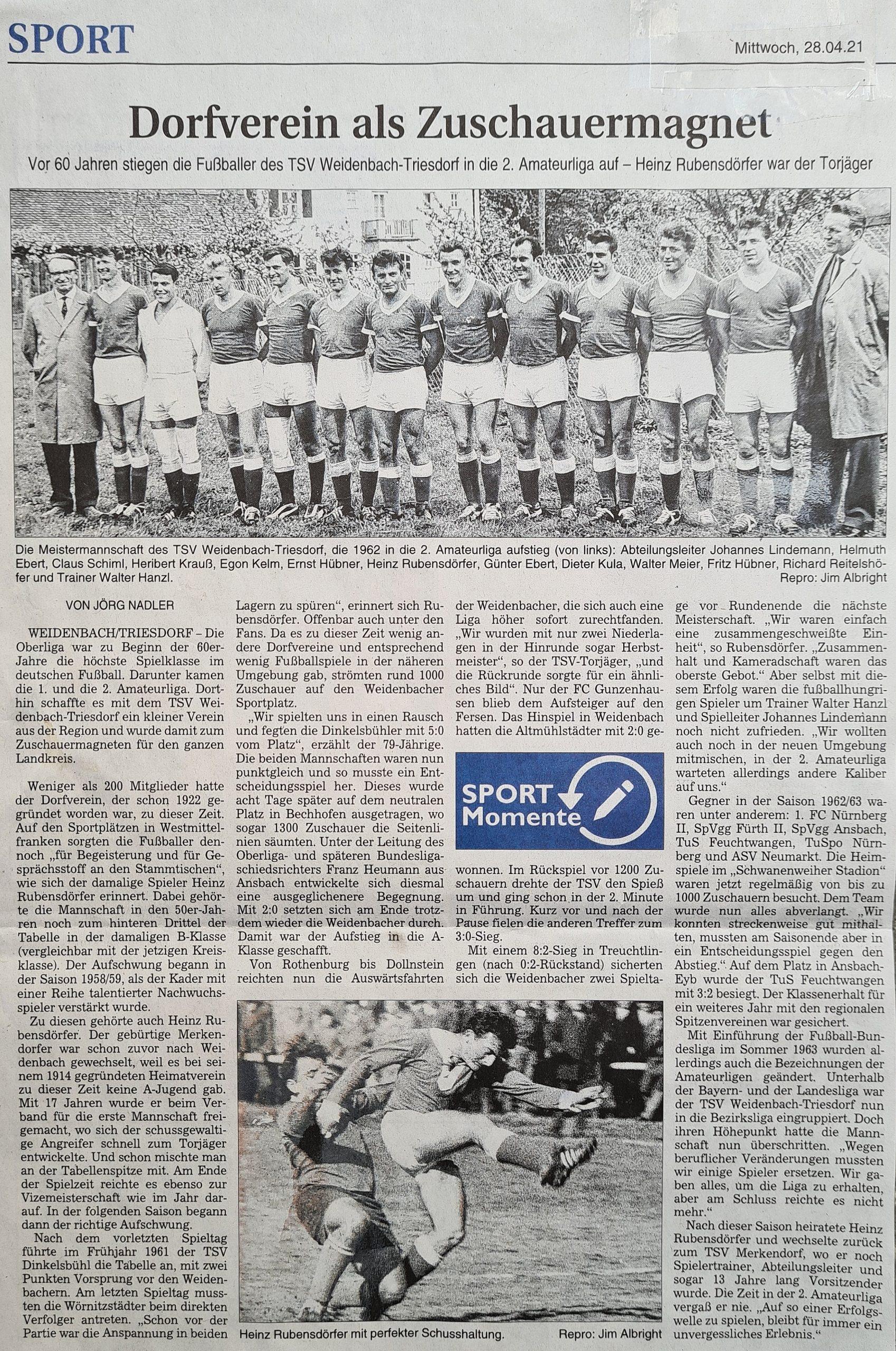 Dorfverein als Zuschauermagnet - Aufstieg in die 2. Amateurliga anno 1962